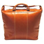 Piana Italian Leather Tote Travel Bag - Orange