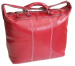 Piana Italian Leather Tote Travel Bag - Tuscan Red
