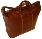 Piana Italian Leather Tote Travel Bag - Vecchio Brown