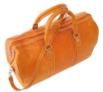 Milano Italian Leather Travel Duffle Bag - Orange