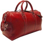 Milano Italian Leather Travel Duffle Bag - Red
