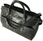Casiana Italian Leather Tote Travel Bag - Black