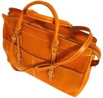 Casiana Italian Leather Tote Travel Bag - Orange