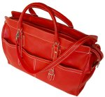 Casiana Italian Leather Tote Travel Bag - Red