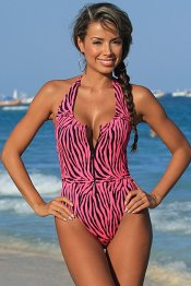 SEPHARA Zip Front Pink Zebra Print High Cut Leg One Piece