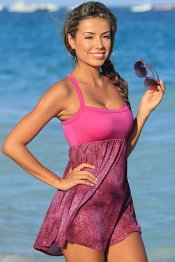UJENA Pinky Plum Sparkle Babydoll Empire Waist Sheer Beach Dress Swimsuit