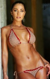 UJENA Bamboo Red Trimmed Crochet String Bikini