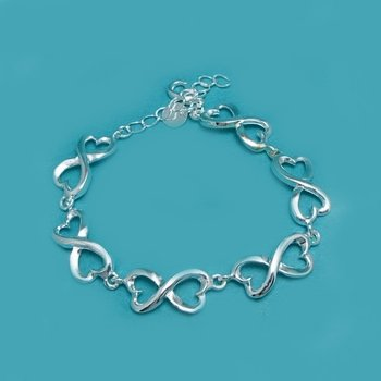 "Sterling Silver 925 Double Hearts Link Bracelet - 6.5"" - 8"""