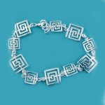 Sterling Silver 925 Greek Design Link Bracelet - 7.5""