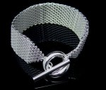 Sterling Silver 925 Solid Soft Mesh Toggle Bracelet - 7.5""