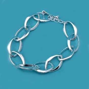"Sterling Silver 925 Large Pointed Oval Link Bracelet - 7.5"" - 8"""