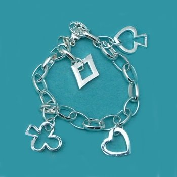 Sterling Silver 925 Oval Linked Card/Poker Charm Bracelet - 7""