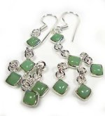 Sterling Silver & Green Onyx Stone Dangling Earrings - 2.5""