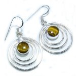 Sterling Silver & Tiger Eye Stone Hoop Earrings  - 2""