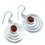 Sterling Silver & Carnelian Stone Hoop Earrings  - 2""