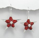 Sterling Silver 925 & Sponge Coral Large Star Dangle Earrings