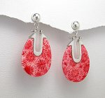 Sterling Silver 925 & Sponge Coral Oval Post Earrings