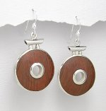 Sterling Silver 925 & Wood Dangle Earrings