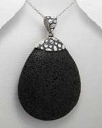Sterling Silver 925 & Large Oval Lava Stone Pendant