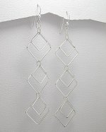 Sterling Silver 925 Square/Diamond 3-Tiered Dangle Earrings