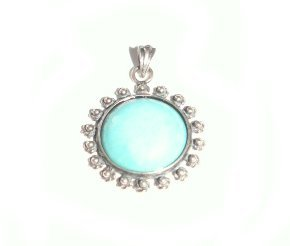 Sterling Silver & Turquoise Ornate Circle Pendant - 3mm x 2.5m