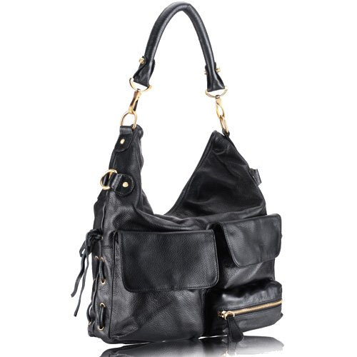 GLORIA Pocketed Hobo Handbag - Black Leather