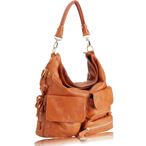 GLORIA Pocketed Hobo Handbag - Caramel Tan Leather