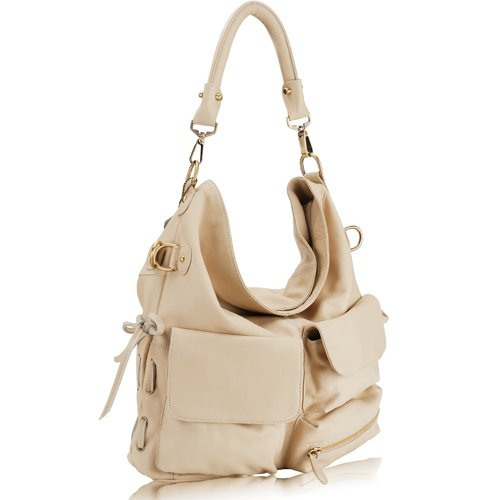 GLORIA Pocketed Hobo Handbag - Light Beige Leather