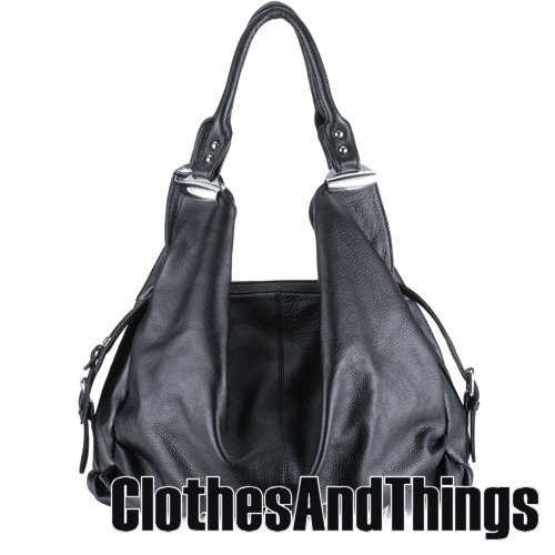 JESSIE Slouch Hobo Handbag - Black Leather