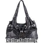 C&T Designer Inspired Grommetted Italian Leather Handbag - Black