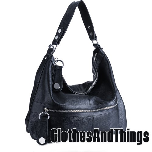 C&T Designer Inspired Italian Leather Hobo Styled Tote Handbag - Black