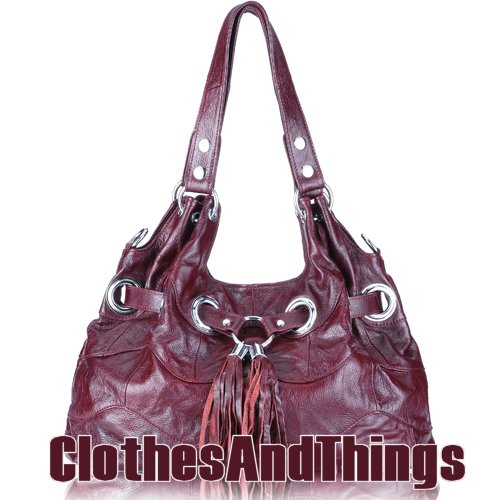 FRANKIE Grommetted Leather Handbag - Vintage Wine Red