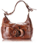 Caramel Floral Design Leather Handbag