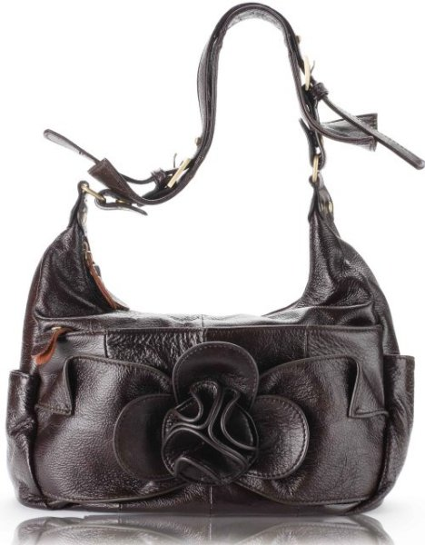 Brown Leather Floral Tote Handbag