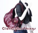 Red Wine Vintage Leather Floral Handbag