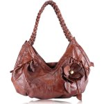 C&T Designer Inspired Italian Leather Feminine Floral Tote Hobo Handbag - Vintage Brown Leather