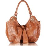 C&T Designer Inspired Italian Vintage Leather Hobo Styled Tote Handbag - Tan Vintage Leather