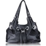 FRANKIE Grommetted Leather Handbag - Black
