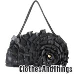 SHELLY 3D Floral Handbag - Black Leather