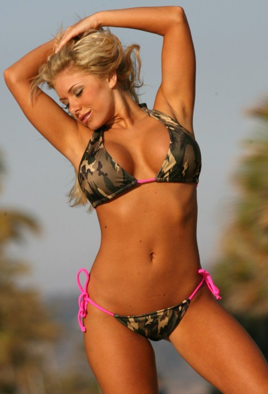 UJENA Camo Pink String Scrunch Butt Bikini Bottoms