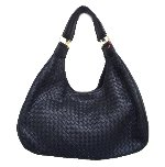 Black Basket Weave Leather Hobo Handbag