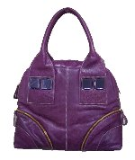 Purple Leather Gemstone Handbag