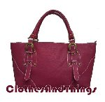 Deep Rose Italian Grained Leather Handbag Tote