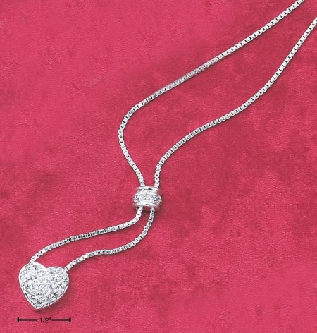 "Sterling Silver 925 15"" Box Chain Necklace & CZ Dome and Pave Heart Dangle Necklace - 15"""