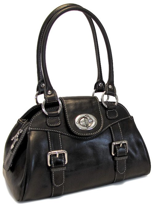 Procida Italian Leather Handbag - Black