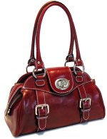 Procida Italian Leather Handbag - Red