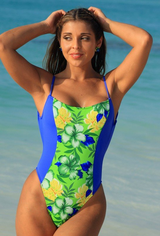 a48f1adca7 UJENA 1 Pc One Piece Blue & Floral High Cut Leg Body Shaper Swimsuit ...