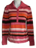 JONES NEW YORK SPORT Pink Striped Sweater