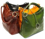 """Tavoli"" Italian Tucano Leather Tote Handbag - Black, Brown, Orange, Green Leather"