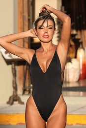SELENA Black High Cut Leg Swimsuit ~ Size 6